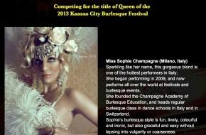 La performer italiana Miss Sophie Champagne negli USA per il Kansas City BurlesqueFestival